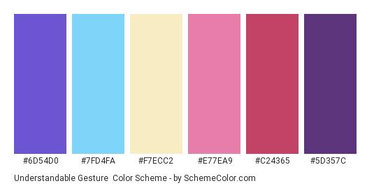 Understandable Gesture - Color scheme palette thumbnail - #6d54d0 #7fd4fa #f7ecc2 #e77ea9 #c24365 #5d357c