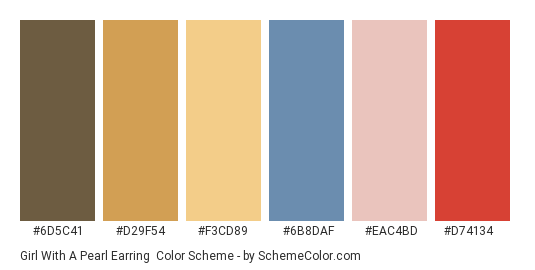Girl with a Pearl Earring - Color scheme palette thumbnail - #6d5c41 #d29f54 #f3cd89 #6b8daf #eac4bd #d74134