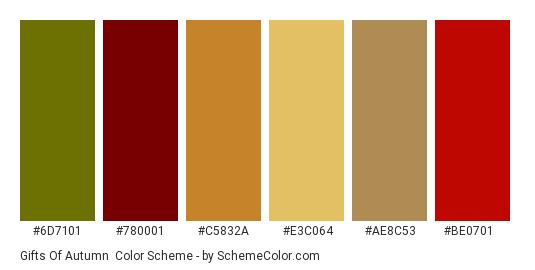 Gifts of Autumn - Color scheme palette thumbnail - #6d7101 #780001 #c5832a #e3c064 #ae8c53 #be0701