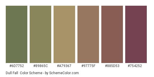 Dull Fall - Color scheme palette thumbnail - #6d7752 #89865c #a79367 #97775f #885d53 #754252