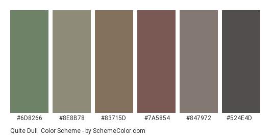 Quite Dull - Color scheme palette thumbnail - #6d8266 #8e8b78 #83715d #7a5854 #847972 #524e4d