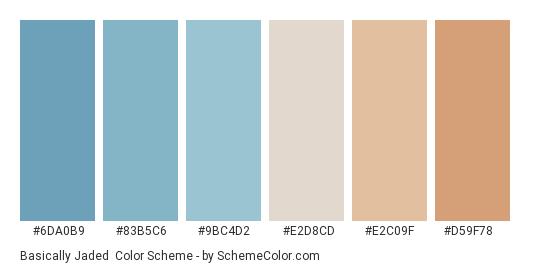 Basically Jaded - Color scheme palette thumbnail - #6da0b9 #83b5c6 #9bc4d2 #e2d8cd #e2c09f #d59f78