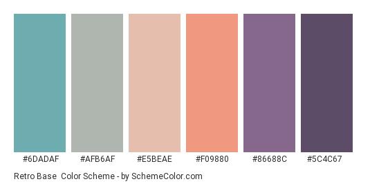 Retro Base - Color scheme palette thumbnail - #6dadaf #afb6af #e5beae #f09880 #86688c #5c4c67