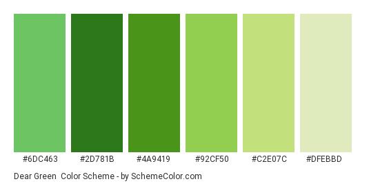 Dear Green - Color scheme palette thumbnail - #6dc463 #2d781b #4a9419 #92cf50 #c2e07c #dfebbd