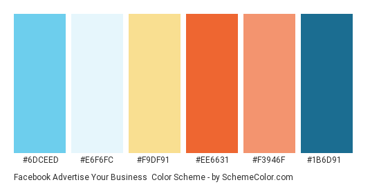 Facebook Advertise Your Business - Color scheme palette thumbnail - #6dceed #e6f6fc #f9df91 #ee6631 #f3946f #1b6d91