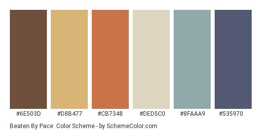 Beaten By Pace - Color scheme palette thumbnail - #6e503d #d8b477 #cb7348 #ded5c0 #8faaa9 #535970