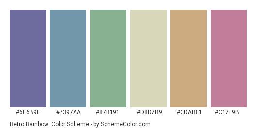 Retro Rainbow - Color scheme palette thumbnail - #6e6b9f #7397aa #87b191 #d8d7b9 #cdab81 #c17e9b