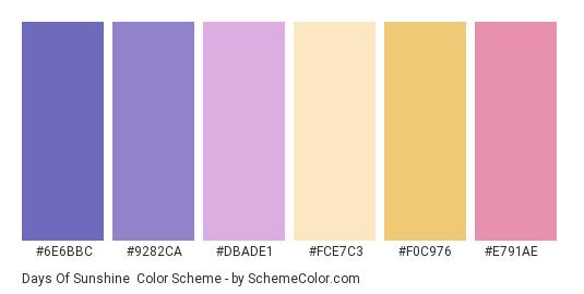 Days of Sunshine - Color scheme palette thumbnail - #6e6bbc #9282ca #dbade1 #fce7c3 #f0c976 #e791ae