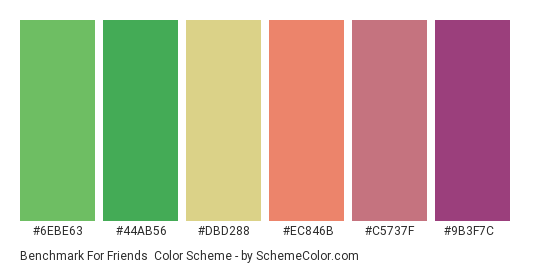 Benchmark for Friends - Color scheme palette thumbnail - #6ebe63 #44ab56 #dbd288 #ec846b #c5737f #9b3f7c
