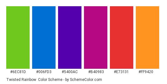 Twisted Rainbow - Color scheme palette thumbnail - #6ec81d #006fd3 #5400ac #b40983 #e73131 #ff9420