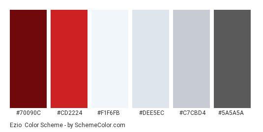 Ezio - Color scheme palette thumbnail - #70090C #CD2224 #F1F6FB #DEE5EC #C7CBD4 #5A5A5A