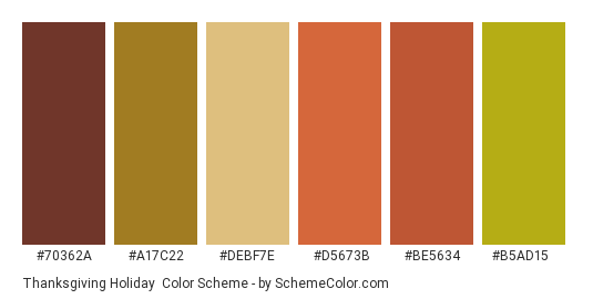 Thanksgiving Holiday - Color scheme palette thumbnail - #70362a #a17c22 #debf7e #d5673b #be5634 #b5ad15