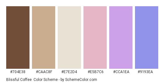 Blissful Coffee - Color scheme palette thumbnail - #704e38 #caac8f #e7e2d4 #e5b7c6 #cca1ea #9193ea