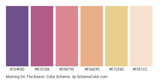 Morning on the Beach - Color scheme palette thumbnail - #704f8d #b15c86 #d98790 #e9ae85 #e7ce8c #f5e1cc