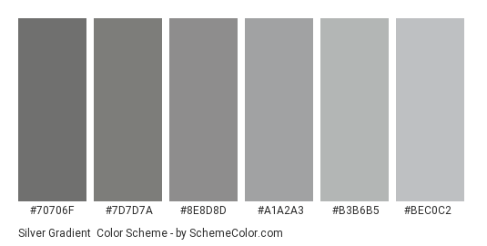 Silver Gradient - Color scheme palette thumbnail - #70706f #7d7d7a #8e8d8d #a1a2a3 #b3b6b5 #bec0c2