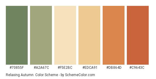Relaxing Autumn - Color scheme palette thumbnail - #70855F #A2A67C #F5E2BC #EDCA91 #DB864D #C9643C
