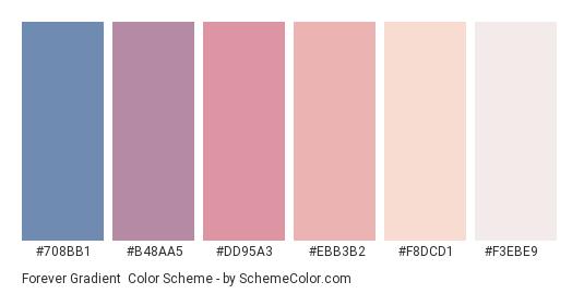 Forever Gradient - Color scheme palette thumbnail - #708bb1 #b48aa5 #dd95a3 #ebb3b2 #f8dcd1 #f3ebe9