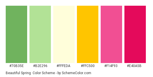 Beautiful Spring - Color scheme palette thumbnail - #70B35E #B2E296 #FFFEDA #ffc500 #f14f93 #e40a5b