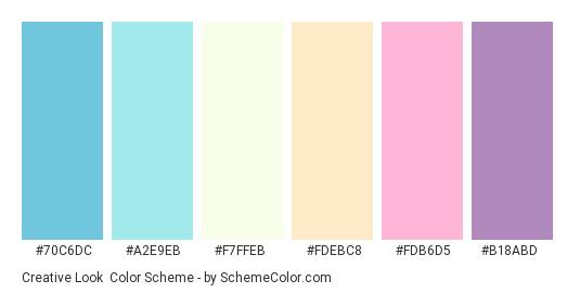 Creative Look - Color scheme palette thumbnail - #70C6DC #A2E9EB #F7FFEB #FDEBC8 #FDB6D5 #B18ABD