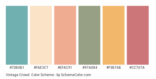 Vintage Crowd - Color scheme palette thumbnail - #70b0b1 #fae3c7 #efac91 #97a084 #f3b76b #cc767a