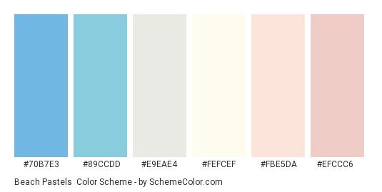 Beach Pastels - Color scheme palette thumbnail - #70b7e3 #89ccdd #e9eae4 #fefcef #fbe5da #efccc6