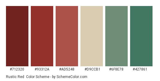 Rustic Red - Color scheme palette thumbnail - #712320 #93312a #ad5248 #d9ccb1 #6f8e78 #427861