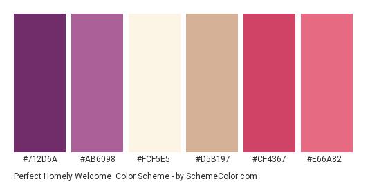Perfect Homely Welcome - Color scheme palette thumbnail - #712d6a #ab6098 #fcf5e5 #d5b197 #cf4367 #e66a82
