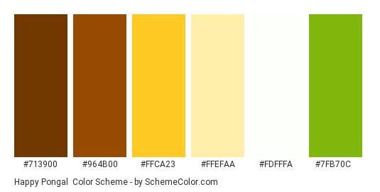 Happy Pongal - Color scheme palette thumbnail - #713900 #964B00 #FFCA23 #FFEFAA #FDFFFA #7FB70C