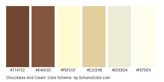 Chocolates and Cream - Color scheme palette thumbnail - #714732 #84563d #fefccf #e2ce9b #edebd6 #fefde9
