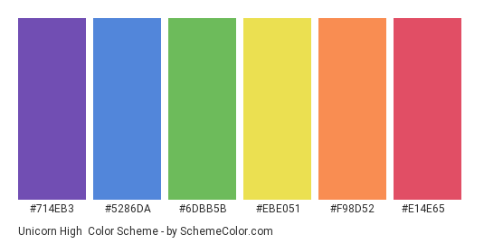 Unicorn High - Color scheme palette thumbnail - #714eb3 #5286da #6dbb5b #ebe051 #f98d52 #e14e65