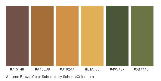 Autumn Blows - Color scheme palette thumbnail - #715148 #a46e39 #d19247 #e1af55 #495737 #6b7443
