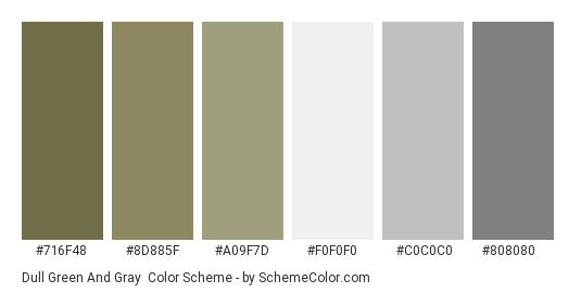 Dull Green and Gray - Color scheme palette thumbnail - #716f48 #8d885f #a09f7d #f0f0f0 #c0c0c0 #808080