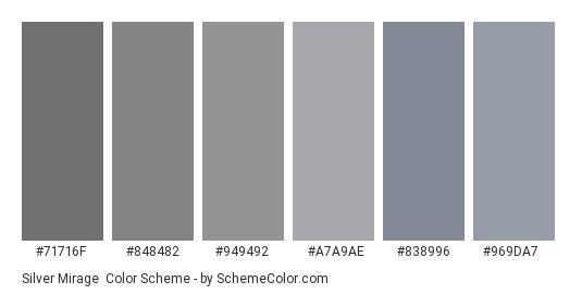 Silver Mirage - Color scheme palette thumbnail - #71716f #848482 #949492 #a7a9ae #838996 #969da7