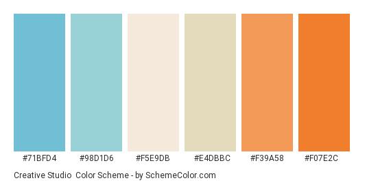 Creative Studio - Color scheme palette thumbnail - #71bfd4 #98d1d6 #f5e9db #e4dbbc #f39a58 #f07e2c
