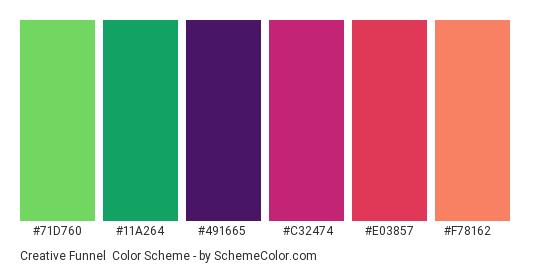 Creative Funnel - Color scheme palette thumbnail - #71d760 #11a264 #491665 #c32474 #e03857 #f78162