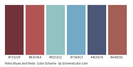 Retro Blues and Reds - Color scheme palette thumbnail - #723239 #b35454 #92c2c2 #73a9c2 #4c5676 #a45e56