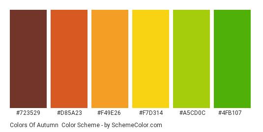 Colors of Autumn - Color scheme palette thumbnail - #723529 #d85a23 #f49e26 #f7d314 #a5cd0c #4fb107