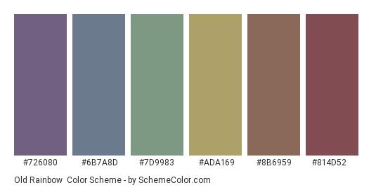 Old Rainbow - Color scheme palette thumbnail - #726080 #6b7a8d #7d9983 #ada169 #8b6959 #814d52