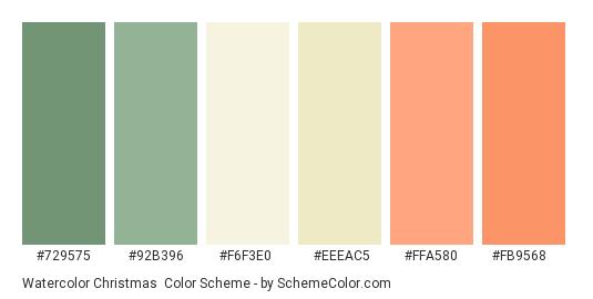 Watercolor Christmas - Color scheme palette thumbnail - #729575 #92b396 #f6f3e0 #eeeac5 #ffa580 #fb9568