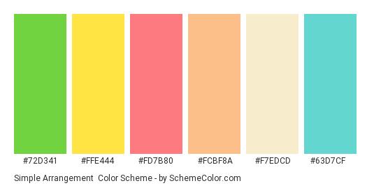 Simple Arrangement - Color scheme palette thumbnail - #72d341 #ffe444 #fd7b80 #fcbf8a #f7edcd #63d7cf