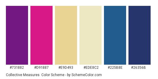 Collective Measures - Color scheme palette thumbnail - #731882 #D91887 #e9d493 #ede8c2 #225b8e #26356b