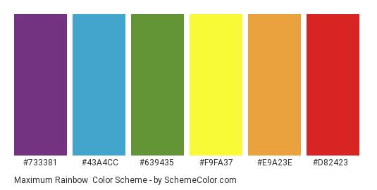 Maximum Rainbow - Color scheme palette thumbnail - #733381 #43a4cc #639435 #f9fa37 #e9a23e #d82423