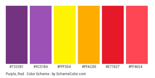 Purple, Red & Yellow - Color scheme palette thumbnail - #733381 #9c51b6 #fff304 #ffac00 #e71827 #ff4654