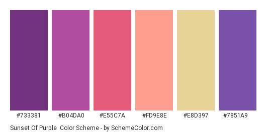 Sunset of Purple - Color scheme palette thumbnail - #733381 #b04da0 #e55c7a #fd9e8e #e8d397 #7851a9