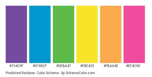 Predicted Rainbow - Color scheme palette thumbnail - #734C9F #0198CF #5DBA47 #F8E429 #FBAA4E #EF4C9D