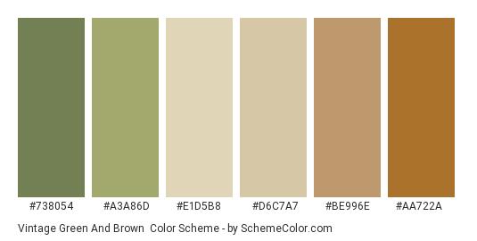 Vintage Green And Brown Color Scheme Palette Thumbnail 738054 A3a86d E1d5b8