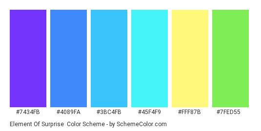 Element of Surprise - Color scheme palette thumbnail - #7434fb #4089fa #3bc4fb #45f4f9 #fff87b #7fed55