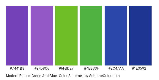 Modern Purple, Green and Blue - Color scheme palette thumbnail - #7441B8 #9458C6 #6FBD27 #4EB33F #2C47AA #1E3592