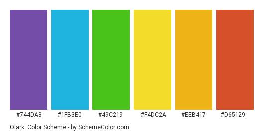 Olark - Color scheme palette thumbnail - #744da8 #1fb3e0 #49c219 #f4dc2a #eeb417 #d65129