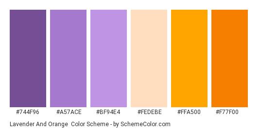 Lavender and Orange - Color scheme palette thumbnail - #744f96 #a57ace #bf94e4 #fedebe #ffa500 #f77f00